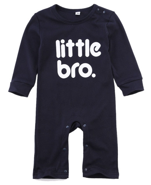 Newborn Kids Romper Infant Kids Baby Boy Girl Little Bro printed Outfits Jumpsuit cotton Clothes Autumn Spring-eosegal