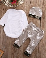 2Pcs/Set Kids Baby Girl Boy Cotton Tops Romper+Deer Leggings Pants Outfits Set-eosegal