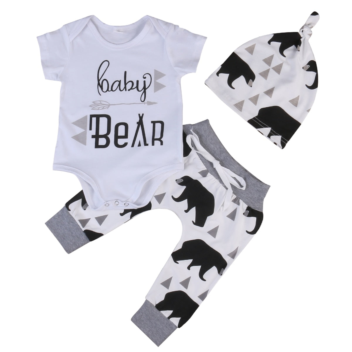 Summer 2017 Newborn Baby Boys Girls Kids Clothes Romper T-shirt Tops +Long Pants+Hat Outfits Sets-eosegal