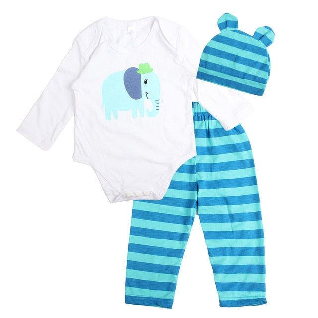3PCS Baby Cotton Romper Set Infant Newborn Boys Girls Cartoon Animal Costume Clothing Sets Cute Jumpsuit +Hat+Pants Barboteuse-eosegal