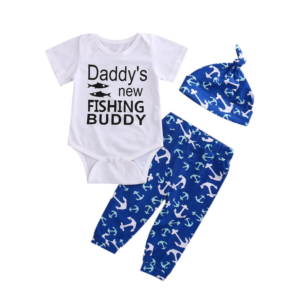 3Pcs Cute Infant Baby Girl Boy daddy new fishing buddy Tops T-shirt+Pants Leggings Hat 3pcs Outfits Set-eosegal