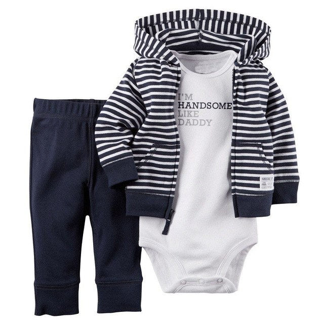 10 models Retail, Baby Boys Cotton Hooded Romper Cardigan+Pant+Bodysuit 3pcs Sets,Jumpsuit Fashion clothing Set, Freeshipping-eosegal
