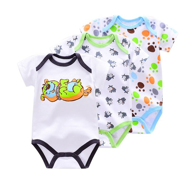 3 Pieces/lot Brand Summer Baby Boys Romper Animal style Short Sleeve cotton infant rompers Jumpsuit cotton Baby Newborn Clothes-eosegal