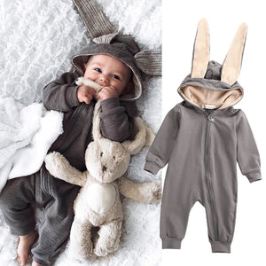 New Infant Baby Boy Girl 3D Ear Cotton Romper Jumpsuit Babies Cute Rabbit Ear Hooded Rompers Outfits Costume Zipper Clothing-eosegal