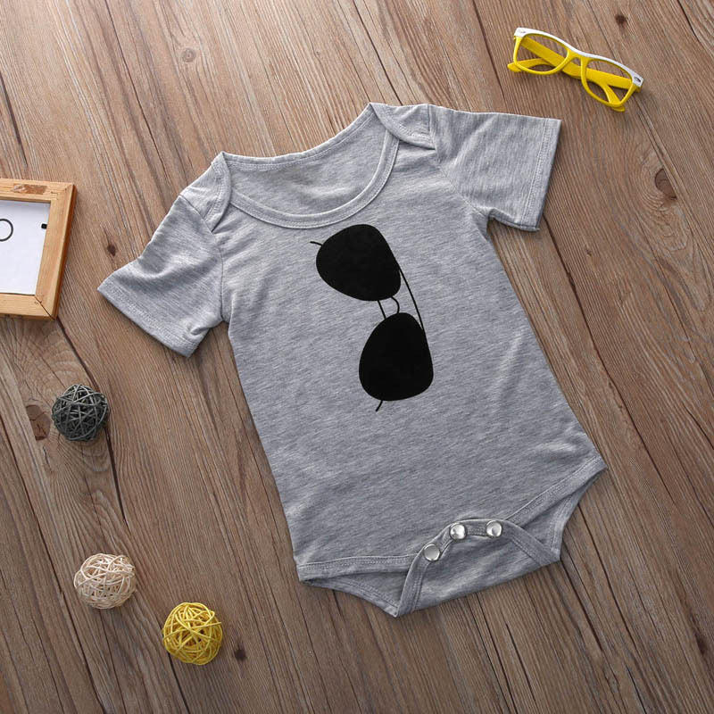 2016 New Summer Style Kids Bodysuits Newborn Kids Infant Baby Girls Boy Cotton Bodysuit sunglasses printing Casual Clothes-eosegal