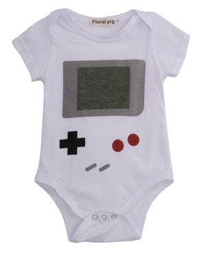 Helen115 Funny Newborn Baby Girls Boys Summer Games Consoles Printed Short Sleeve Bodysuit 0-24M-eosegal