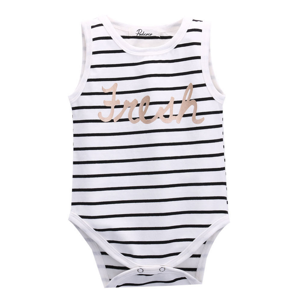Newborn Baby Clothes Infant Boys Girls Cute Summer Striped Sleeveless Bodysuit Clothing for 0-24M-eosegal
