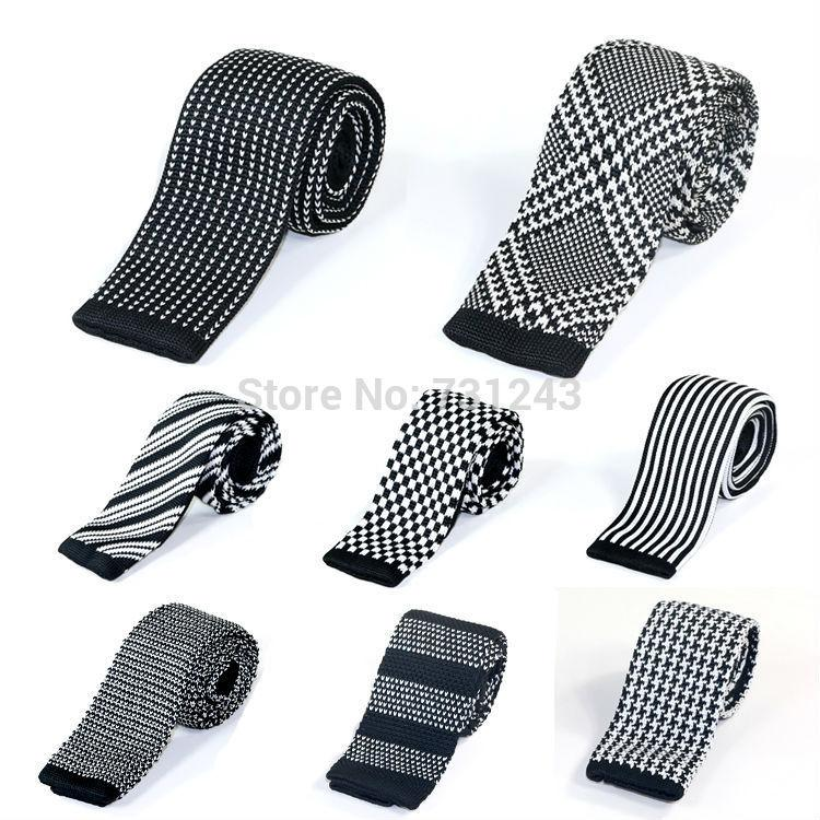 Knitted Slim Ties for men Casual Woven Polyester Skinny Neckties Fashion Stripedeosegal-eosegal
