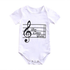 Toddler Infant Newborn Baby Girls Boys Bodysuit Short Sleeve Sunsuit Musical Printed Jumpsuit Casual Clothes-eosegal