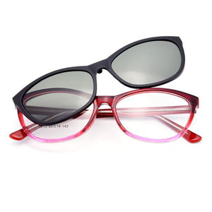 1613 Urltra-Light TR90 Eyeglasses Frame with Polarized Clip-on Sunshades for Womeneosegal-eosegal