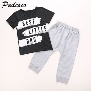 2PCS Little brother set Baby clothes Kids Boy Summer T-shirt+Long Pant Cotton Costume Set Suit SZ0-24M-eosegal