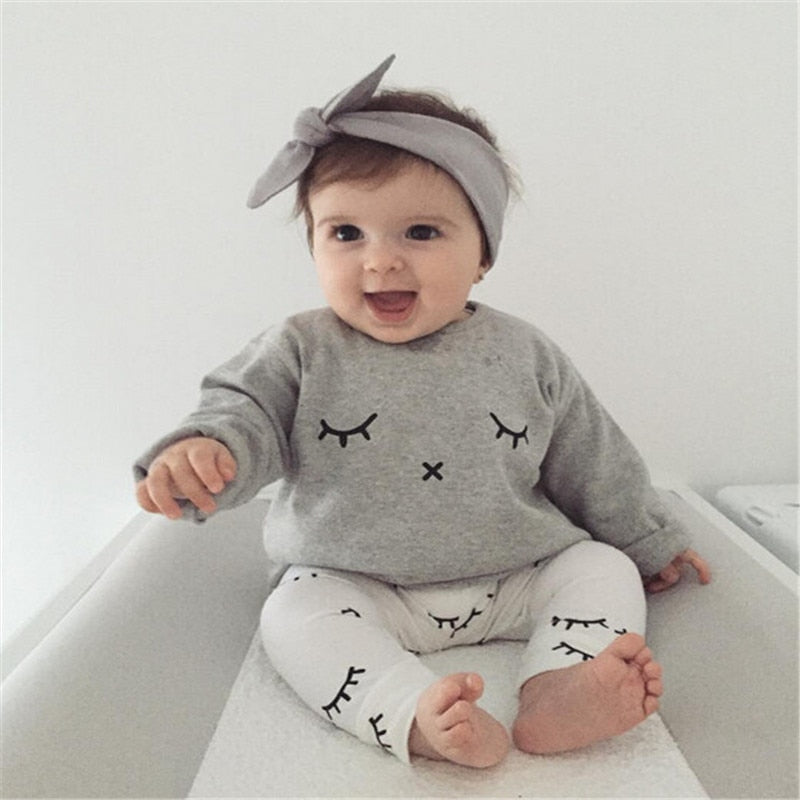 Toddler Baby Sets Cotton Lovely Newborn Baby Set Girl Kids Pattern T-shirt Tops+Long Pants Outfits Summer Baby Set Clothes-eosegal