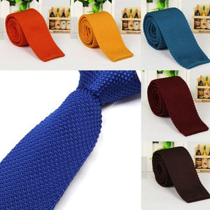 Men's Fashion Solid Tie Knit Knitted Tie Plain Necktie Narrow Slim Skinnyeosegal-eosegal