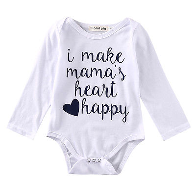 Newborn Baby Girls Boys Clothes Long SLeeve Romper i make mama happy Jumpsuit Outfits Suit Hot-eosegal