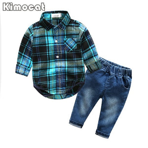 Cute Infant Baby Boy Clothes Blue Plaid jumpsuit+ Jeans Baby Long Sleeve Baby boy Clothing Set-eosegal