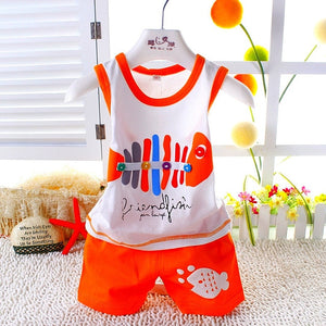 2pcs/set Vest Suit Baby Clothing Set Summer Style Fish Newborn Baby Boy Girl Clothes Set Sleeveless Ropa Bebes Infant Clothes-eosegal