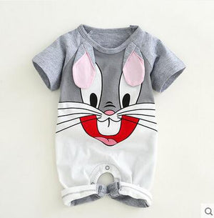 Newborn baby cotton rompers lovely Rabbit ears baby boy girls short sleeve baby costume Jumpsuits Roupas Bebes Infant Clothes-eosegal
