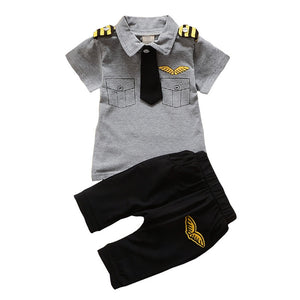 BibiCola Newborn baby boys Clothing Set Summer infant boy Pilot Clothes Cotton Kids Captain Costume Toddler military uniforms-eosegal