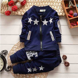BibiCola Infant Clothing Sets Autumn Small Child Sport Suit clothes boys tracksuit Baby Star Zip cardigan outfits sweatsuit-eosegal