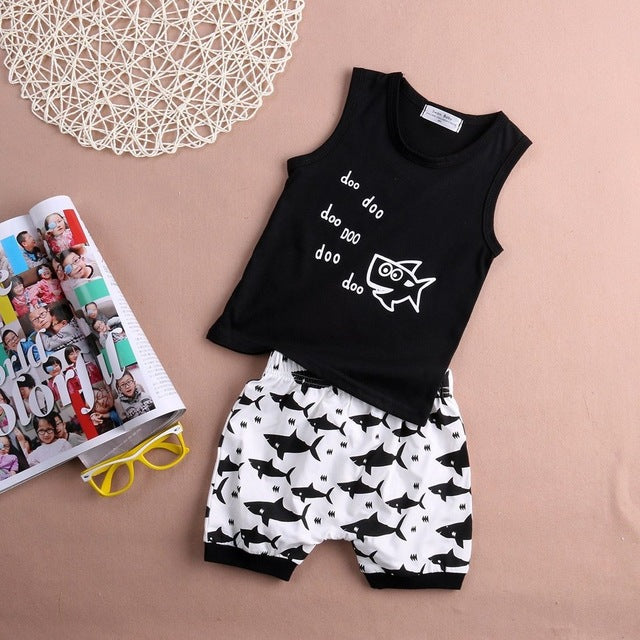 t-shirt + Shorts 2pcs suit 2016 new Summer baby girl Boys clothes cotton Sleeveless Vest letter baby boy clothing sets infant-eosegal