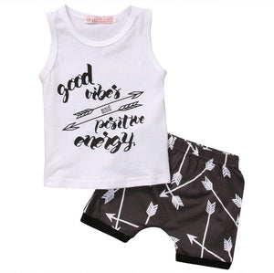 Infantil Toddler Newborn Kids Baby Boys Arrow T shirt Tops Shorts Pants 2PCS Casual Outfit Clothes Summer suit Set-eosegal