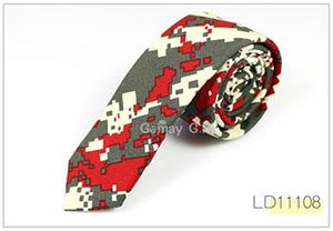 New Floral Print Linnen and Cotton Skinny Ties for Men 5.5 widtheosegal-eosegal