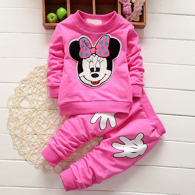 2017 Newborn Baby Girls Clothes Set Cartoon Long Sleeved Tops + Pants 2PCS Outfits Kids Bebes Clothing Childrens Jogging Suits-eosegal