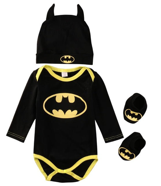 2017 Summer Cute Batman Newborn Baby Boys Infant Rompers+Shoes+Hat 3Pcs Outfit Baby Boys Clothes Set-eosegal