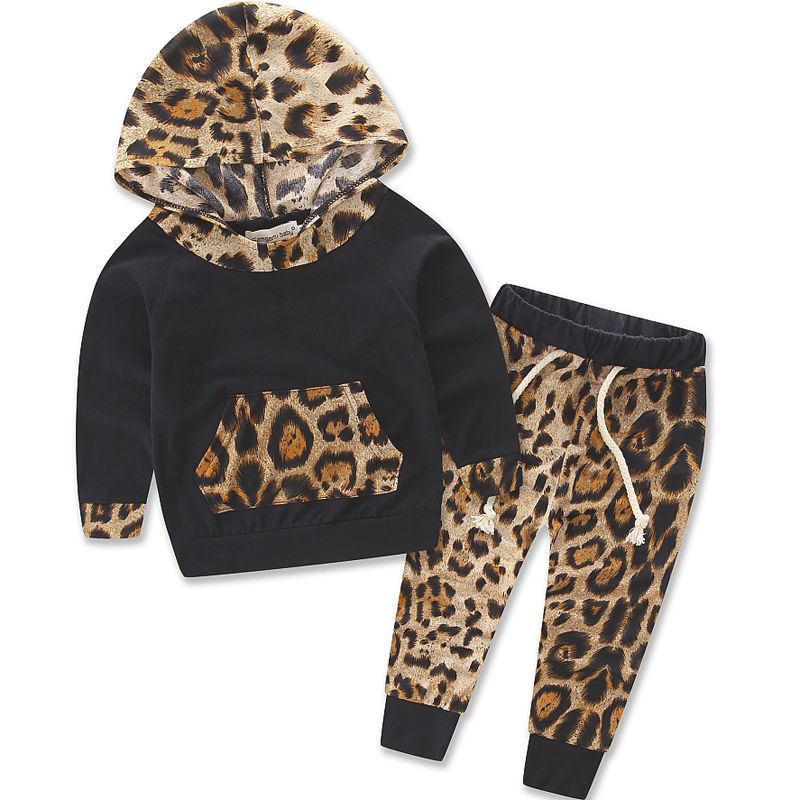 Newborn Infantil Toddler Kid Baby Boys Baby Girls Unisex Leopard Pullover Hooded Coat + Pants 2PCS Set Clothes Outfit-eosegal