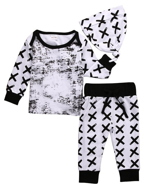 Newborn Toddler Infant Baby Boy Girl Long Sleeve Tops Long Pants Hat 3PCS Casual Outfits Set Clothes-eosegal