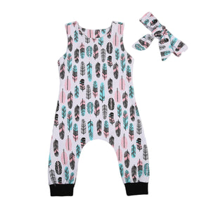 Summer 2017 Lovely Infant Baby Boys Girls Feather Romper Sleeveless Jumpsuit+ Headband Outfits-eosegal
