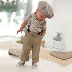 Anlencool Baby Boy Toddler Clothes Casual Formal Gentleman Strips Tops+Pants+Braces 3Pcs Outfit Set 0-3Y Hot baby clothes sets-eosegal