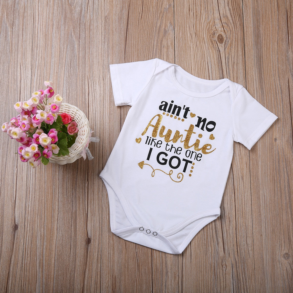 Infant Baby Boys girls gold letter bodysuit summer ain't no Auntie Kids Boysuit Cotton baby Clothes Outfits-eosegal