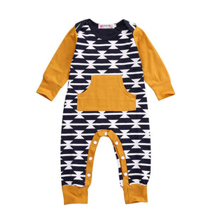 Newborn Baby Girl Boy Clothes Long Sleeve Romper Jumpsuit Romper Playsuit Outfit Casual-eosegal