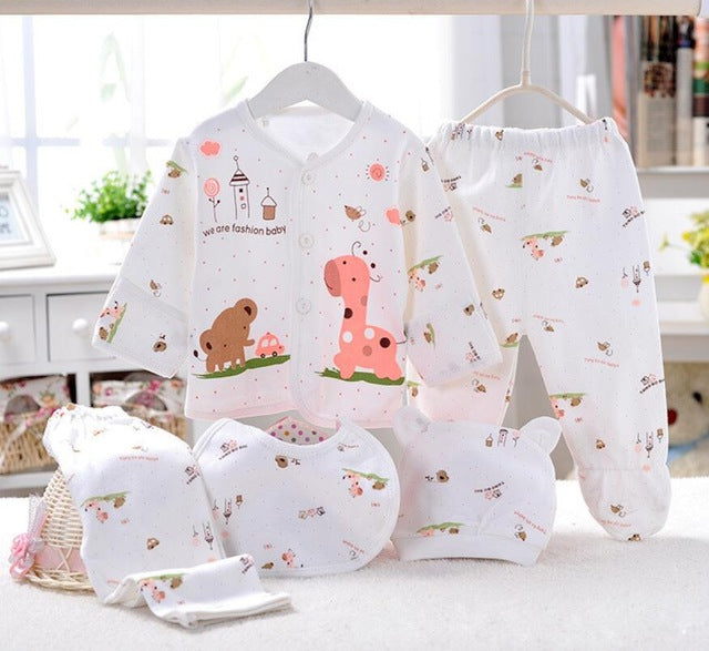 5PCS baby girl clothes 0-3M Spring summer print cartoon newborn clothing gift set cotton new born baby boy clothes baby outfit-eosegal