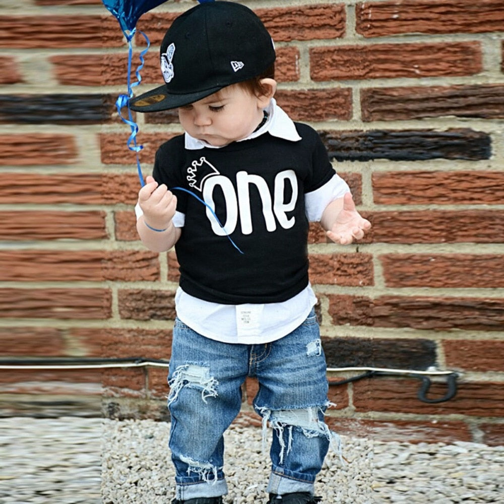 Puseky Newborn Baby Boy Summer Clothes Bebes Boy Short Sleeve Crown ONE Letter Printed T Shirts Black Tops Tee 0-24M-eosegal