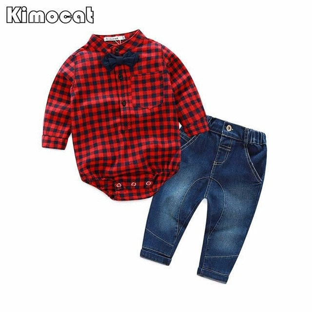 Free shipping baby bebes boys clothes set Romper + pants boy girl clothing infant Autumn Spring children suits-eosegal