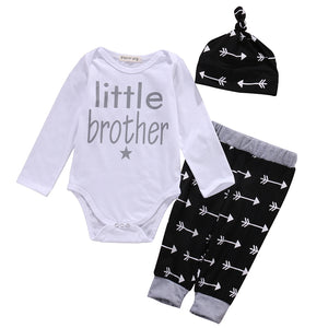 2017 kids baby clothes baby clothing sets Newborn Baby Boys arrow Romper Tops +Long Pants Hat 3PCS Outfits Set Clothes Pajamas-eosegal