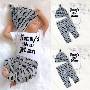 Cute 3PCS Set Newborn Baby Boy Clothes Lovely Mommy's New Man Mustache Print Bodysuit Tops Long Pants Hat Outfits 0-18M-eosegal