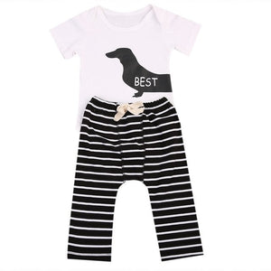 New Infant Baby 2PCS Animal Short Sleeve Romper+Striped Bottoms Toddler Boy Girl Outfit 0-24M-eosegal