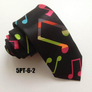 5cm Musical Tie Music Notes Necktie Black with White G-clef Gravata ineosegal-eosegal