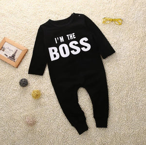 2017 Black Cool Newborn Infant Baby Boy Romper Long Sleeve Jumpsuit Clothes Outfit-eosegal