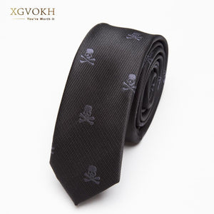 Men TIE Black Skull Fashion Classical Slim Skinny Polyester Ties Narrow Silkeosegal-eosegal