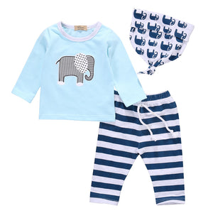 3pcs suit baby boy clothes newborn Baby Boy Girl Kids Elephant Romper +Striped pant +hat Outfits Clothing Set-eosegal