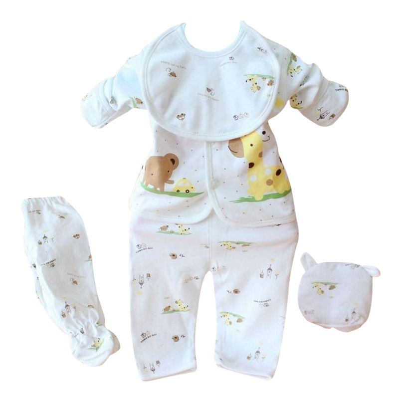 Newborn Baby Boy Girl 5 Pcs Clothing Set Cotton Cartoon Monk Tops Pants Bib Hats Infant Clothes 0-3 Months Hight Quality-eosegal