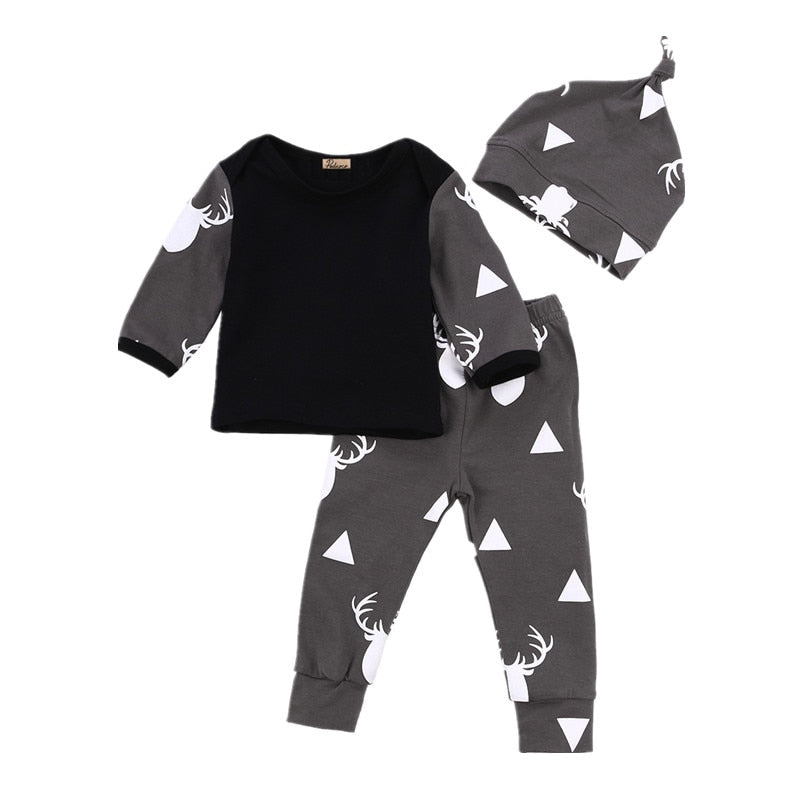 Newborn Baby Boys Baby Girl Infantil Clothes Deer Tops T-shirt +Pants Leggings Hat 3pcs Outfits Set-eosegal