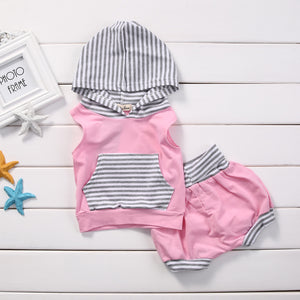 New Brand Baby Girls Clothing Hooded Tops+ Shorts Girl Clothes Pink summer Baby Outfits 0-24M-eosegal