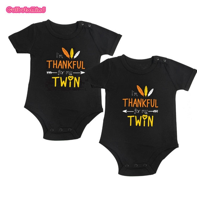 Culbutomind Twin Thanksgiving Outfits I'm THANKFUL For My TWIN Set of 2 Baby Body Suits Twins Baby Clothes Twin Baby Outfits-eosegal