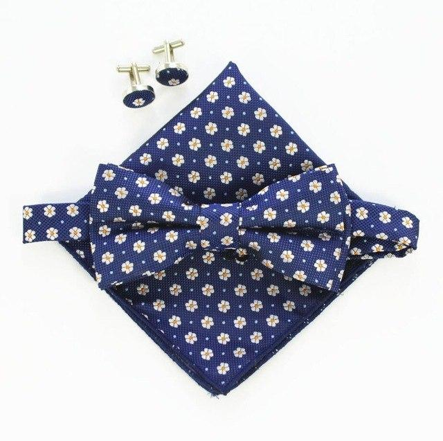 Fashion Men Bow tie Cufflinks Pocket Squares Set Man Bowtie Handkerchiefeosegal-eosegal