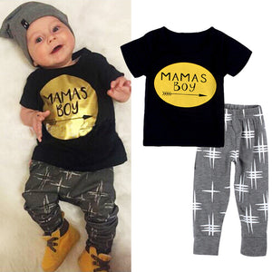 2016 New summer baby boy clothes set cotton Fashion letters printed T-shirt+pants 2pcs Infant clothes newborn baby clothing set-eosegal